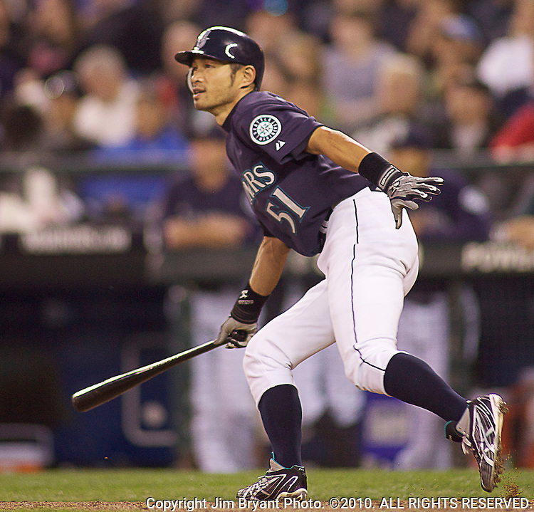 Seattle Mariners'  Ichiro Suzuki bats against the Baltimore Orioles at SAFECO Field in Seattle April 19, 2010. The  Mariners beat the Orioles 8-2. Jim Bryant Photo. ©2010. ALL RIGHTS RESERVED.