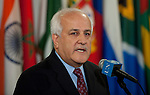 Palestinian Representative Briefs Media .Riyad H. Mansour, Permanent Observer of Palestine to the UN, speaks to journalists following Israeli air strikes on Gaza. .