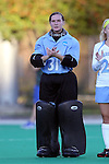 17 October 2014: North Carolina's Shannon Johnson. The Duke University Blue Devils hosted the University of North Carolina Tar Heels at Jack Katz Stadium in Durham, North Carolina in a 2014 NCAA Division I Field Hockey match. UNC won the game 1-0.