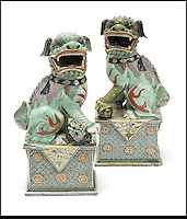 BNPS.co.uk (01202) 558833<br /> Picture: Bonhams<br /> <br /> A pair famille verte models of Buddhisitc lions, est &pound;10,000<br /> <br /> It is the ultimate garden sale -- The aristocrat Cunliffe-Copeland family are auctioning off millions of pounds of antiques in a unique sale of the entire contents of their stately home Trelissick House near Truro in Cornwall. For generations the family have filled the magnificent The 18th century manor with treasures acquired from travels around the globe.<br /> <br /> 58 years ago the house was left to the National Trust on the condition members of the family could carry on living in the property. But the current incumbent, William Copeland and wife Jennifer, have decided to buy a normal-sized family home and are unable to take the hundreds of heirlooms with them. So they are holding a two-day sale of ancient ornaments, paintings, furniture, jewellery, silverware, books, rugs and wine in the grounds of Trelissick House, near Truro, later this month, and hope to raise &pound;3million