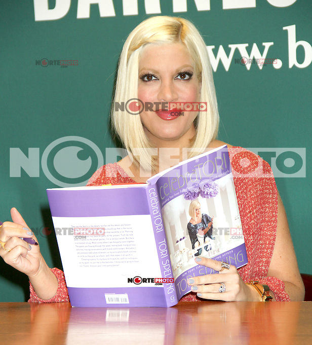 April 04, 2012 Tori Spelling signs copies of her new book CelebraTORI: Unleashing Your Inner Party Planner to Entertain Friends and Family at Barnes & Noble 5th Avenue in New York City. Credit: RW/Mediapunchinc.com