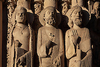 A queen, a Jew and a prophet, from the left splay of the central bay of the Royal Portal, 1142-50, Western facade, Chartres cathedral, Eure-et-Loir, France. Chartres cathedral was built 1194-1250 and is a fine example of Gothic architecture. It was declared a UNESCO World Heritage Site in 1979. Picture by Manuel Cohen.