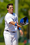 6 March 2006: Andy LaRoche, infielder for the Los Angeles Dodgers, tosses his batting helmet during a Spring Training game against the Washington Nationals. The Nationals and Dodgers played to a scoreless tie at Holeman Stadium, in Vero Beach Florida...Mandatory Photo Credit: Ed Wolfstein..