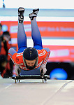 14 December 2007: Olga Korobkina, racing for Russia, starts her second run of the FIBT World Cup Skeleton Competition at the Olympic Sports Complex on Mount Van Hoevenberg, at Lake Placid, New York, USA. ..Mandatory Photo Credit: Ed Wolfstein Photo