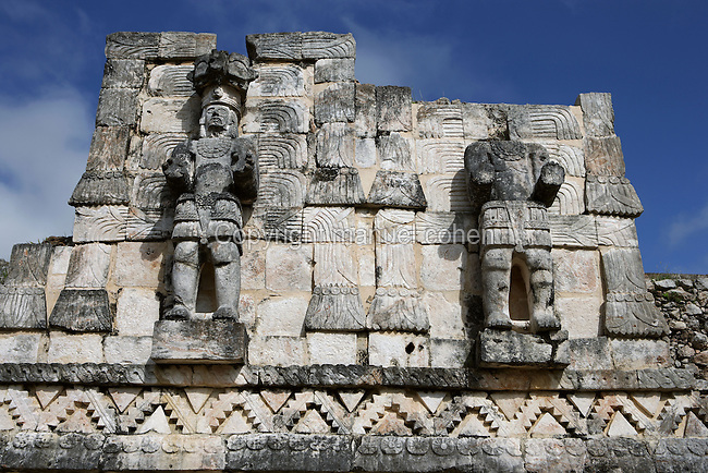"""Standing Atlantes, Eastern façade of Codz Poop (""""Rolled-up matting"""" in Maya), Latticework and carved panels, Puuc Architecture, 700-900 AD, Kabah, Yucatan, Mexico. Picture by Manuel Cohen"""