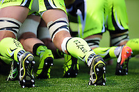 A general view of Sale Sharks branded socks at a scrum. Aviva Premiership match, between Saracens and Sale Sharks on February 25, 2017 at Allianz Park in London, England. Photo by: Patrick Khachfe / JMP