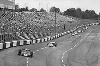 HAMPTON, GA - APRIL 22: Danny Ongais (#25 Parnelli VPJ6C/Cosworth TC) leads Tom Sneva (#1 McLaren M24 Cosworth TC) and others during the Gould Twin Dixie 125 event on April 22, 1979, at Atlanta International Raceway near Hampton, Georgia.