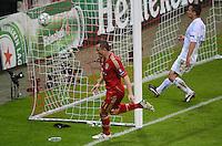 FUSSBALL   CHAMPIONS LEAGUE  VIERTELFINAL RUECKSPIEL   2011/2012      FC Bayern Muenchen - Olympic Marseille          03.04.2012 JUBEL FC Bayern Muenchen; Torschuetze zum 2-0 Ivica Olic (Mitte)