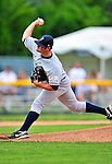 18 July 2010: Staten Island Yankees pitcher Preston Claiborne on the mound against the Vermont Lake Monsters at Centennial Field in Burlington, Vermont. The Lake Monsters fell to the Yankees 9-5 in NY Penn League action. Mandatory Credit: Ed Wolfstein Photo