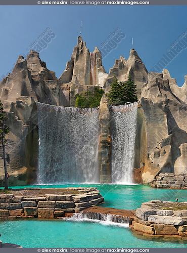 Waterfall at Canada's Wonderland amusement park. Vaughan Ontario Canada.