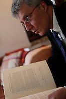 """French Egyptologist Sydney Aufrere, Professor at CNRS (Centre National de la Recherche Scientifique), member of the Centre Paul-Albert Février (Université de Provence-UMR 6125 du CNRS) at his residence in Montpellier on March 11, 2009. His latest book is """"L'Odyssée d'Aigyptos. Le sceptre et le spectre"""" (The Odyssey of Aigyptos. The sceptre and the spectre),  Pages du Monde, 2007. Picture by Manuel Cohen"""