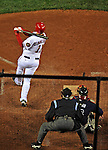 30 March 2008: Washington Nationals' third baseman Ryan Zimmerman hits a game-winning, walk-off solo home run in the bottom of the ninth inning to defeat the Atlanta Braves, capping off the inauguration of Nationals Park in Washington, DC. The Nationals 3-2 win over the Braves opened the season, and christened the new state-of-the-art ballpark to a sellout crowd of 39,389...Mandatory Photo Credit: Ed Wolfstein Photo