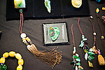 Multi-colored jade jewelry on display at the Taipei Jade Market.