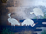 Photo shows a detail from a sliding door whose base is made from silver leaf inside the Yushinden, a room built in 1899 for the Imperial family, at Dogo Onsen, thought to be Japan's oldest spa in Matsuyama City, Ehime Prefecture, Japan on 20 Feb. 2013.  The white heron is a recurring motif at the spa, dating back to a legend that says a lame heron was cured by the waters here,  triggering the establishment of the first community here about 3,000 years. Photographer: Robert Gilhooly