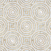 Orson, a hand-cut stone mosaic, shown in Shell, honed Thassos, Gold Glass, and polished Calacatta Pennyrounds.