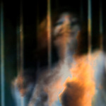 ecstatic woman holding onto bars superimposed with clouds