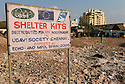 Signage from NGO's placed after the Tsunami hit Chennai's beaches. Santhome Beach and adjoining Marina Beach in Chennai, India were hit hard by the 2004 Tsunami. Fishermen and their families were the main victims living in their lightweight huts on the long and flat beaches of the area. All structures within 300 metres of the sea have now been banned and any left standing after the Tsunami were demolished. The fishermen and their families have now been relocated to government blocks of flats which has become a Santhome slum for fishermen and their families.