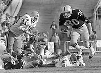 Oakland Raiders Mark van Eeghen #30 runs against the Cleveland Browns (1979 photo by Ron Riesterer)
