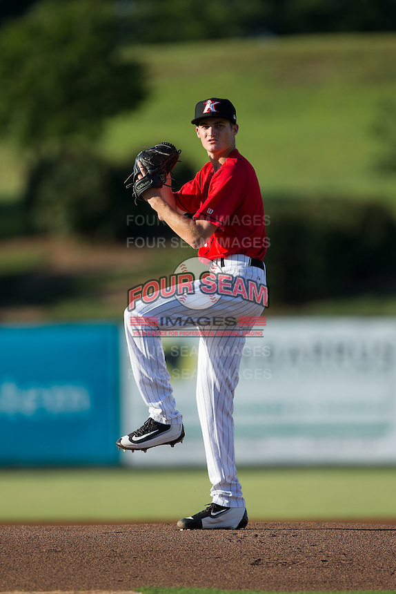 Kannapolis Intimidators starting pitcher Jimmy Lambert (8) in action against the Lexington Legends at Kannapolis Intimidators Stadium on July 12, 2016 in Kannapolis, North Carolina.  (Brian Westerholt/Four Seam Images)