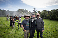 The Lost City of Z (2016)<br /> (Left to Right) An unidentified crew member, producer Anthony Katagas and director James Gray on the set of  <br /> *Filmstill - Editorial Use Only*<br /> CAP/KFS<br /> Image supplied by Capital Pictures