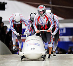 22 November 2009:  Dawid Kupczyk, piloting the Poland 1 bobsled, leads his 4-man team to a 17th place finish at the FIBT World Cup competition, in Lake Placid, New York, USA. Mandatory Credit: Ed Wolfstein Photo