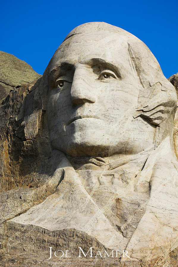 Close up view of George Washington  at Mount Rushmore National Memorial.