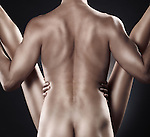 Couple making love. Artistic closeup of muscular man back and woman legs.