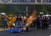 May 14, 2016; Commerce, GA, USA; NHRA top fuel driver Pat Dakin during qualifying for the Southern Nationals at Atlanta Dragway. Mandatory Credit: Mark J. Rebilas-USA TODAY Sports