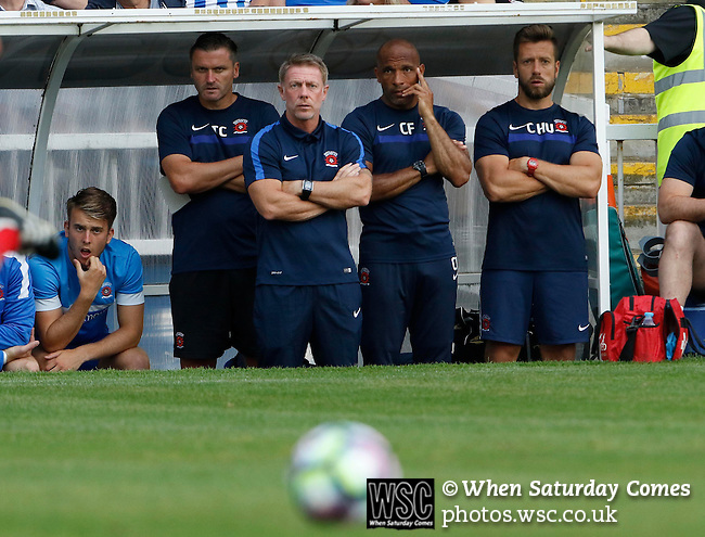 Hartlepool United 0 Sunderland 3, 20/07/2016. Victoria Park, Pre Season Friendly. Tony Caig Goalkeeping Coach of Hartlepool United, Craig Hignett Manager of Hartlepool United, Curtis Fleming First Team Coach, and Craig Hubbard Strength & Conditioning Coach, watch the game. Photo by Paul Thompson.