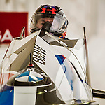 8 January 2016: Steven Holcomb, piloting his 2-man bobsled for the United States of America, enters the Chicane straightaway on his second run, ending the day with a combined 2-run time of 1:51.00 and earning the gold medal at the BMW IBSF World Cup Championships at the Olympic Sports Track in Lake Placid, New York, USA. Mandatory Credit: Ed Wolfstein Photo *** RAW (NEF) Image File Available ***
