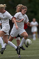 Boston College defender Alyssa Pember (6) works ball out during a corner kick. Boston College defeated North Carolina State,1-0, on Newton Campus Field, on October 23, 2011.