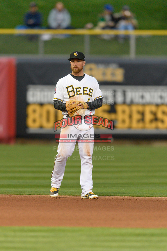 Nolan Fontana (4) of the Salt Lake Bees on defense against the Sacramento River Cats in Pacific Coast League action at Smith's Ballpark on April 11, 2017 in Salt Lake City, Utah. The River Cats defeated the Bees 8-7. (Stephen Smith/Four Seam Images)