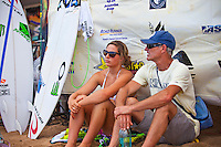 Tyler Wright (AUS) with her father Rob Wright (AUS).  Haleiwa Hawaii, (Tuesday November 16, 2010) .Haleiwa Ali'i Beach Park  turned on 3' surf for the second day of the 2010 Vans Triple Crown of Surfing.  The Round one and two of the women's Cholos Women's Hawaiian Pro was completed today, along with the second of three heats of four of professional surfing all-time world champions in the REEF Clash of the Legends: Tom Curren (USA), Tom Carroll (Australia), Sunny Garcia (Hawaii), and Mark Occhilupo (Australia). ..Photo: joliphotos.com