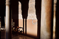 Gallery (detail), Courtyard of the Lions, 1362 ? 1391, Muhammad V, Nasrid Palaces, The Alhambra, Granada, Andalusia, Spain. Picture by Manuel Cohen
