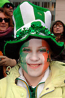 Molly Gillespie, age 14,  from Middletown, NY greets St. Pat's day with hat and Irish flag makeup.  246th Saint Patrick's Day Parade,  marches up 5th Avenue,  March 17, 2007.  (© Frances Roberts)