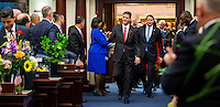 TALLAHASSEE, FLA. 1/12/16-Senate President Andy Gardiner, R-Orlando, center, and Sen. Bill Galvano, R-Bradenton, enter the House chamber prior to the State of the State address during the opening day of the 2016 legislative session at the Capitol in Tallahassee. After a number of contentious issues between the two chambers in 2015, House members did not exactly rush to the aisle to greet their legislative neighbors at the start of the 2016 session.<br /><br />COLIN HACKLEY PHOTO