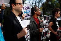 New York City, NY. 14 October 2014. Activists attend a rally for the National Day of Action for ONE FAIR WAGE and an end to gender discrimination and sexual harassment in the restaurant industry. in New York City.Photo by Kena Betancur/VIEWpress
