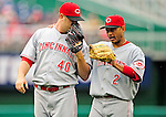 6 June 2010: Cincinnati Reds' shortstop Orlando Cabrera (right) has words with pitcher Nick Masset during a game against the Washington Nationals at Nationals Park in Washington, DC. The Reds edged out the Nationals 5-4 in a ten inning game. Mandatory Credit: Ed Wolfstein Photo