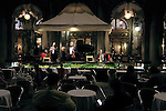 The small orchestra of Cafe Florian in San Marco square, entertaining the last  attendees late at night.