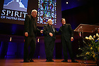 Fr. Monk Malloy, Fr. Theodore Hesburgh, and Fr. John Jenkins at the Spirit Campaign kickoff show
