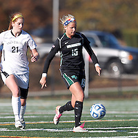 Wilmington University defender Morgan Fraczkowski (15) receives a pass.. In 2012 NCAA Division II Women's Soccer Championship Tournament First Round, College of St Rose (white) defeated Wilmington University (black), 3-0, on Ronald J. Abdow Field at American International College on November 9, 2012.