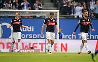 FUSSBALL   1. BUNDESLIGA   SAISON 2013/2014   9. SPIELTAG Hamburger SV - VfB Stuttgart                               20.10.2013 Enttaeuschte Stuttgarter nach dem 1:1: Daniel Schwaab, William Kvist und Vedad Ibisevic (v.l, alle VfB Stuttgart)