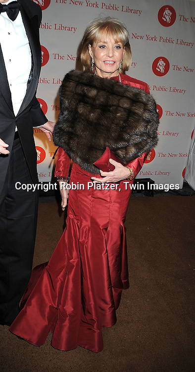 Barbara Walters..arriving at The New York Public Library 2008 Library Lions Benefit Gala on November 3, 2008 at The New York Public Library at 42nd Street and 5th Avenue.....Robin Platzer, Twin Images