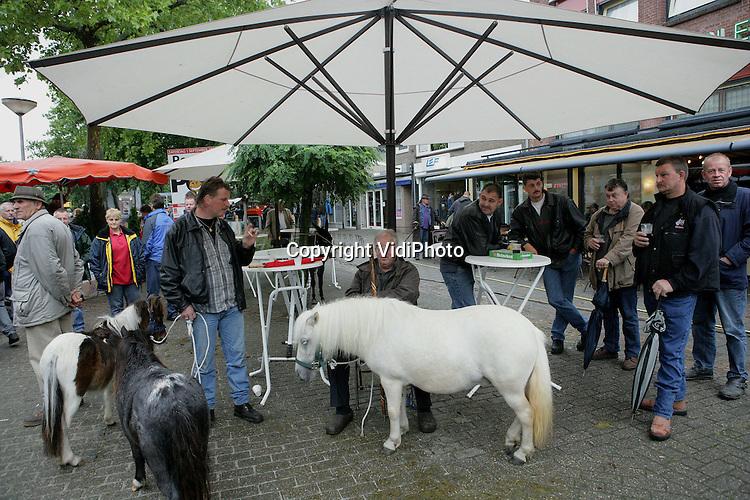 Foto: VidiPhoto..ELST - De paardenmarkt van het Gelderse Elst is niet alleen de oudste paardenmarkt van Nederland, maar lijkt nu ook de grootste te zijn geworden. Met een aanvoer van rond de 2200 paarden en pony's maandag, lijkt Elst Zuidlaren en Hedel ruim voorbij te streven. Die bleven vorig jaar beiden ruim onder de 2000 stuks steken. Daarmee bezit Elst de grootste paardenmarkt van West-Europa. De handel kwam maandagmorgen pas laat op gang door de enorme hoosbuien. Volgens marktmeester Peer van de Ven neemt de kwaliteit van de dieren ieder jaar toe, mede dankzij de controles van AID en veeartsen.