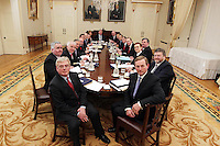 9-3-11 ARAS AN UACHTARAIN NEW CABINET.PIC SHOWS TAOISEACH ENDA KENNY TD WITH HIS TANAISTE AND MINISTER FOR FOREIGN AFFAIRS AND TRADE, MR EAMON GILMORE TD AS THEY HOLD THEIR FIRST CABINET MEETING IN ARAS. PIC COLLINS DUBLIN