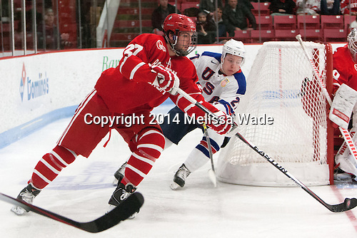 Doyle Somerby (BU - 27), Adam Erne (27/Quebec Remparts) -The players being evaluated for the US Under-20 World Juniors team defeated the Boston University Terriers 5-2 (EN) on Friday, December 19, 2014, at Walter Brown Arena in Boston, Massachusetts.