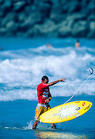 Sunny Garcia (HAW) Upset with the judges and his loss during the running of the Billabong Pro at Anglet Beach, in the South West of France. Circa 1999. Photo: joliphotos.com