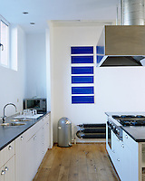 The blue artwork breaks up the expanse of white wall and provides a focal point in this white loft-style kitchen