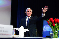 Washington, DC - January 17, 2017: Vice president-elect Mike Pence addresses the U.S. Conference of Mayors 85th Winter Meeting at the Capitol Hilton in the District of Columbia, January 17, 2017.  (Photo by Don Baxter/Media Images International)