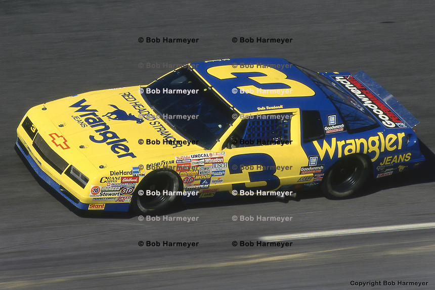 DAYTONA BEACH, FL - FEBRUARY 15: Dale Earnhardt drives his Wrangler Chevrolet during the Daytona 500 on February 15, 1987, at the Daytona International Speedway in Daytona Beach, Florida.